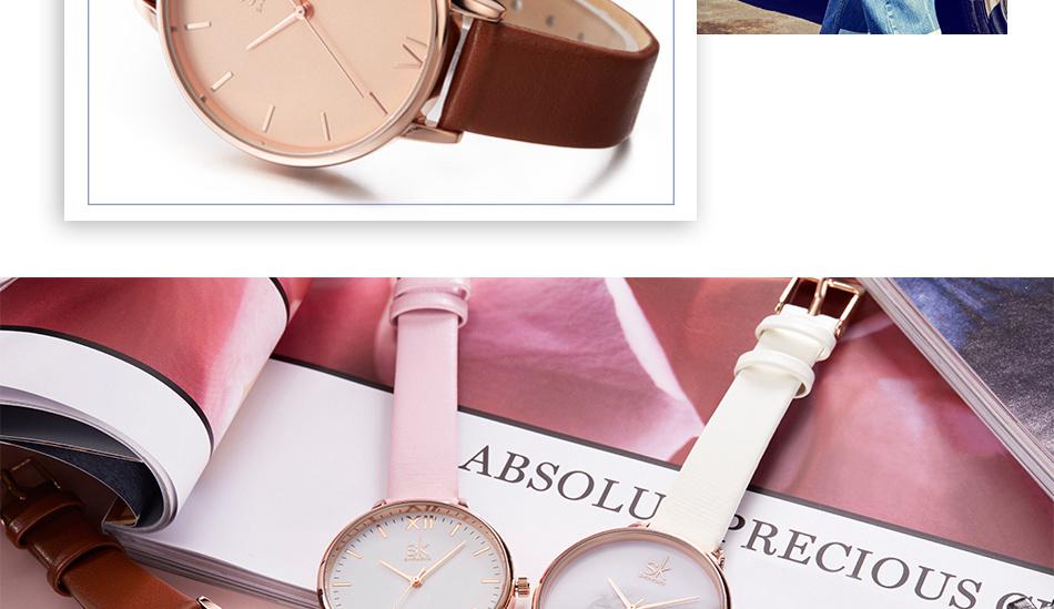 ساعة نسائية حزام جلد أنثى كوارتز الوان جميلة 14