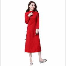 chinese oriental dresses  long sleeve winter dress traditional qi pao dress long sleeve Jacquard cheongsam red LYQ1611069