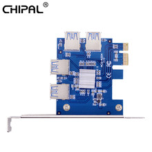 CHIPAL PCI Express PCI-E 1X до 4 USB 3,0 Riser Card PCIe порт адаптер мультипликатора для видеокарты для ETH Bitcoin Miner(China)