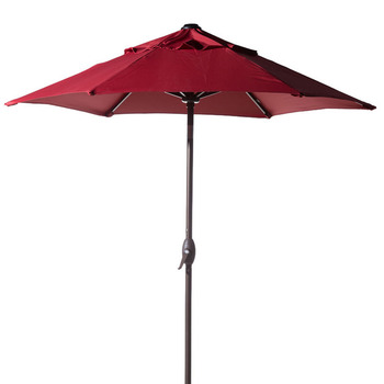 Abba Patio 7-1/2 ft Round Outdoor Market Patio Umbrella with Push Button Tilt and Crank Lift Red