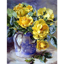 New diamond embroidery yellow roses Flowers DIY diamond painting cross stitch kits diamond mosaic crystal Indoor decor H1386