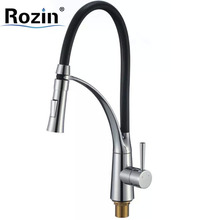 Dual Sprayer Single Handle Kitchen Mixer Faucet Chrome Black Hose with Hot and Cold Water Kitchen Mixer Taps with Bracket Bar