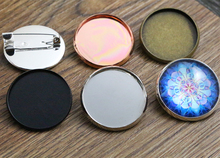 New Arrive 5pcs 25mm 5 Colors Plated  Brooch Style High Quality Cameo Settings Cabochon Base Brass Copper Blank Tray