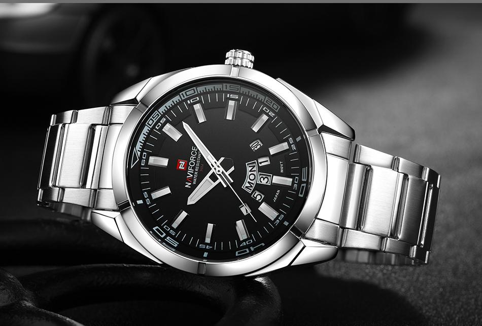 2017 NAVIFORCE Nouveau Top Marque Hommes de Montres Hommes En Acier Plein Imperméable Casual Quartz Date Horloge Mâle montre-Bracelet relogio masculino 16