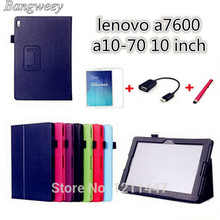 Luxury Stand Litchi leather cover for lenovo a7600 capa para Books case For Lenovo tab a10-70 a7600 + screen protectors+Otg+ Pen