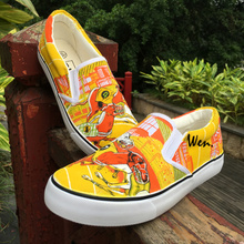 Wen Custom Design Dogs Canine Racing Dogtrack Match Report Hand Painted Yellow Slip On Shoes Flats Women Canvas Sneakers Men(China)