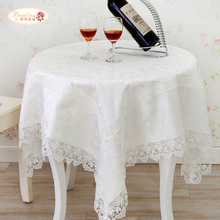 1 Piece European Brocade Square Table Cloth/ White Embroidery Lace Tea Table Cloth/ High-grade Household Lace Tablecloth