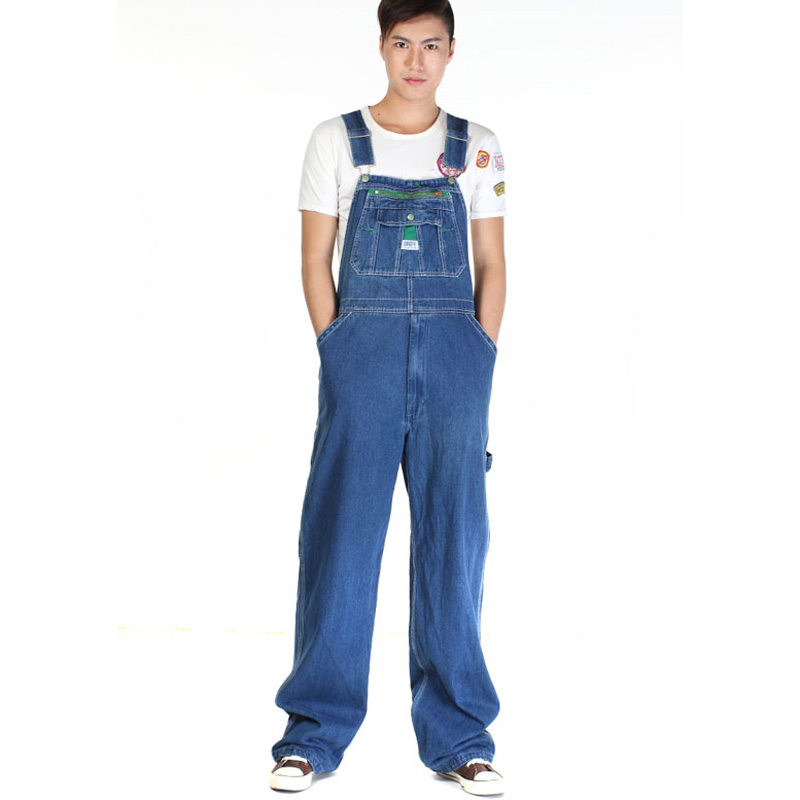 2017 fashion Mens casual loose green zipper bib overalls Male plus large size denim jumpsuits Huge pants Free shippingОдежда и ак�е��уары<br><br><br>Aliexpress