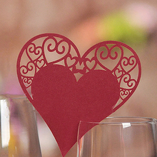 50Pcs Hollow Heart Wine Glass Wedding Party Mark Name Place Card Table Decor