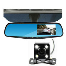1080P Car Dvr Camera 4.3 Inch Rearview Mirror Digital Video Recorder Dual Lens night vision reverse car camera with scale line(China)