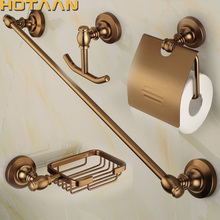 HOTAAN 2017 Aluminium Bathroom Accessories Set,Robe hook,Paper Holder,Towel Bar,Soap Basket. bathroom sets,Antique Brass 810800A