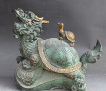 "12"" Chinese Bronze Carving Wealth Money Dragon Turtle Tortoise Kid Sculpture(China)"