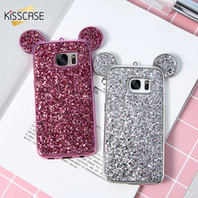 KISSCASE Mickey Mouse Ears Case For Samsung Galaxy S8 Plus S7 S6 Edge Luxury Glitter Sequins Slim Soft TPU Case For Galaxy S8 S7(China)
