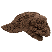 SYB 2016 NEW Women Slouchy Cabled Pattern Knit Beanie Crochet Rib Hat Warm - Brown(China)