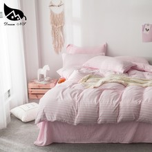 Dream NS Pink Washed Cotton Bedding Set For Stripe pattern Bedclothes Pillowcase Warm Soft Home Bedroom Quilt Duvet Set / sheets(China)