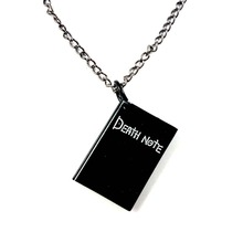 dead Death Note 1pcs/lot black book shape stainless steel pendant 78cm necklace with chain black leather jewelry new 2016 mens