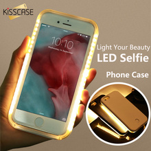 KISSCASE Selfie LED Case For iPhone 6 6s Flash Light Cover For iPhone 6 6s Luminous Hard illuminat Shell For iPhone 5 5s SE Case
