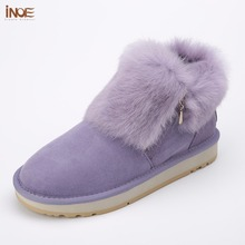 INOE fashion cow suede leather real rabbit fur woman winter ankle snow boots for women short winter shoes zipper rubber sole(China)