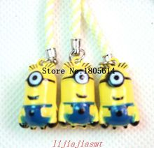 100 pcs fashion popular Despicable Me Minions Costume Small Ring Bell With Strap Key Chain Cell phone Charms