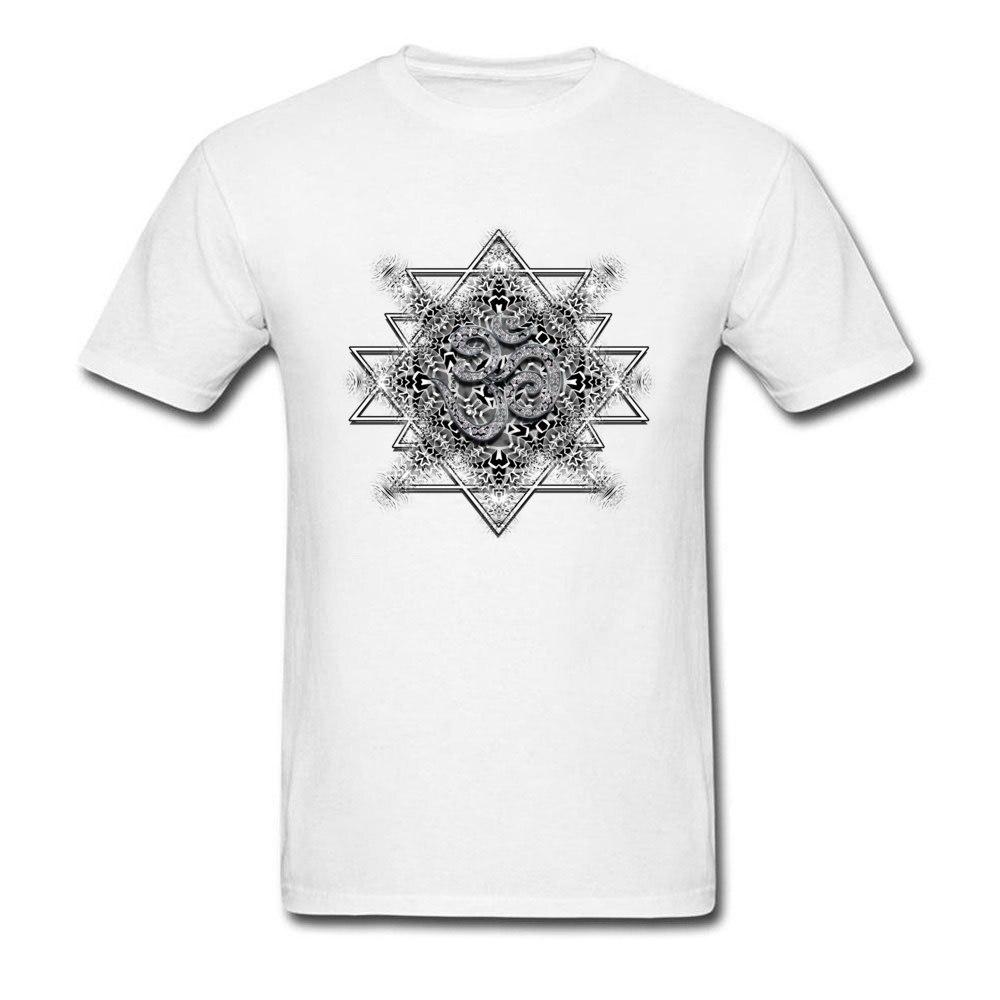 T Shirt Clothing Shirt OM Tribal Geometry VALENTINE DAY Short Sleeve 100% Cotton Round Neck Men T Shirts Printed On Retro OM Tribal Geometry white