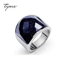 TYME starry sky  men's ring 316L Titanium Ring Black Onyx Ring will never fade domineering White silver Plated Christmas Gift
