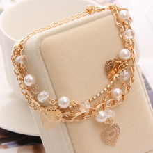 ZOSHI Gold Color Heart Bracelet & Bangles for Woman Rhinestones Multilayer Link Chain Female Simulated Pearl Bracelets