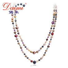 DAIMI New Arrive Multi Color Baroque 160cm Long Pearl Necklace Sweater Chain Natural Pearl Necklace Beach Style For Women Girl