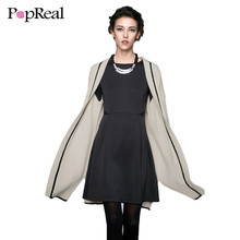 Popreal Sweater Women 2017 Fashion Front Open Long Sleeve Mid-Length Knitted Casual Loose Plain Sweater Women Cardigan Sweater(China)