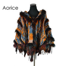 CK708 Real Knitted rabbit Shawl poncho stole with tassels shrug cape robe tippet wrap with raccoon fur collar women(China)