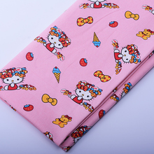 90*145cm patchwork Canvas fabric cartoon Hello Kitty with ice cream fabric for Tissue Kids  Backpack , Shoe ,Cap for Sewing