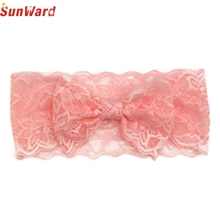 Hair Band SUNWARD delicate 2017 drop ship New Fashion Girls Lace Big Bow Head Wrap Band Accessories W55 @