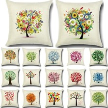 1 Pcs Flower Tree Pattern Cotton Linen Throw Pillow Cushion Cover Seat Car Home Sofa Bed Decorative Pillowcase funda cojin 40196