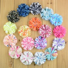 120pcs/lot 18 Color U Pick 3 Inch Vintage Chiffon Lace Fabric Ballerina Flowers Unfinished Wedding Craft Hair Accessories FH61