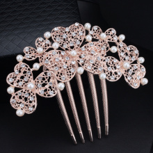 Free Shipping Wedding Hair Accessories Golden Bride Bridesmaid Flower Hair Comb Head Pieces Crystals Pearl Hair Jewelry XLL238(China)