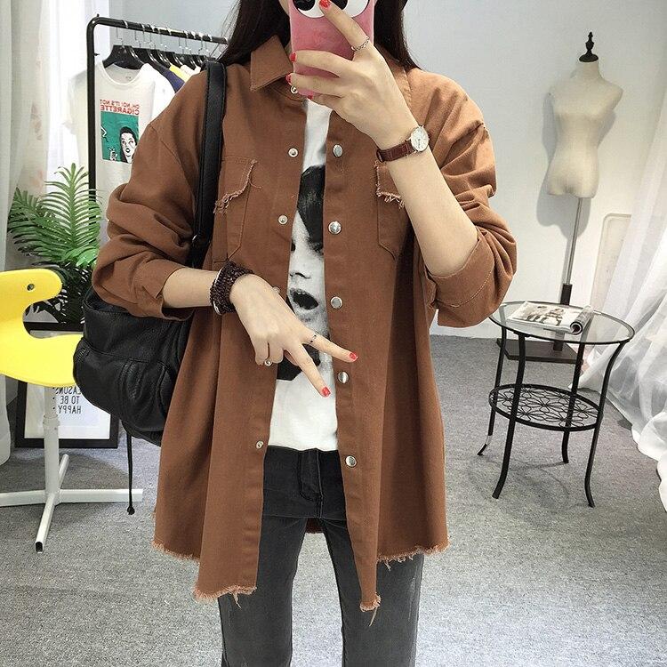 2018 Spring Autumn New Long Section Lapel Tassel Denim Jackets Women Loose Casual Long Sleeve Female\'S Thin Basic Jacket Coats (11)