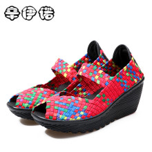 2018 Summer women platform sandals Shoes women Woven shoes Flat Shoes flip flops women multi colors ladies shoes big size 35-41(China)