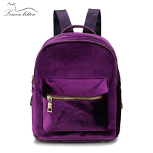 Lemon Kitten Solid Color Velour Mini Women Backpack Fashion Backpack For Teenage Student Girl Schoolbag Mochila Ruckasck