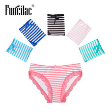Buy FUNCILAC Woman Underwear Cotton Seamless Panties Briefs Womens Underwear Sexy Lace Underpants Striped Panty 5pcs/lot