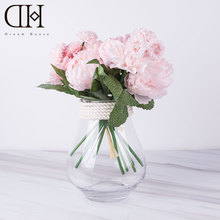 DH fake peony dahlia bouquet glass vase arrangement for home decoration wedding flowers decoration artificial potted flowers