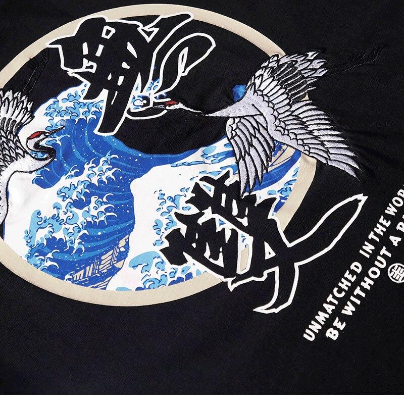Japanese Embroidery Crane Waves Tshirts 6
