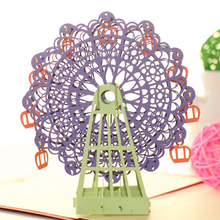 2017 New Arrival Papercraft Pop-Up 3D Ferris Wheel Valentine Cards May Love Goes Round And Round