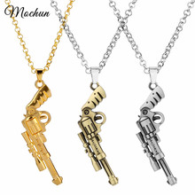 MQCHUN The Walking Dead Revolver Rick Grimes Gun Chain Necklace Pistol Pendant For Men Women Movie Fans Gift Jewelry 3 Colors