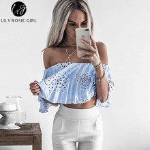 Lily Rosie Girl Blue Floral Print Slash Neck Women Tops Short Sleeve Off Shoulder Summer Beach Shirt Sexy Party Blouses Blusas