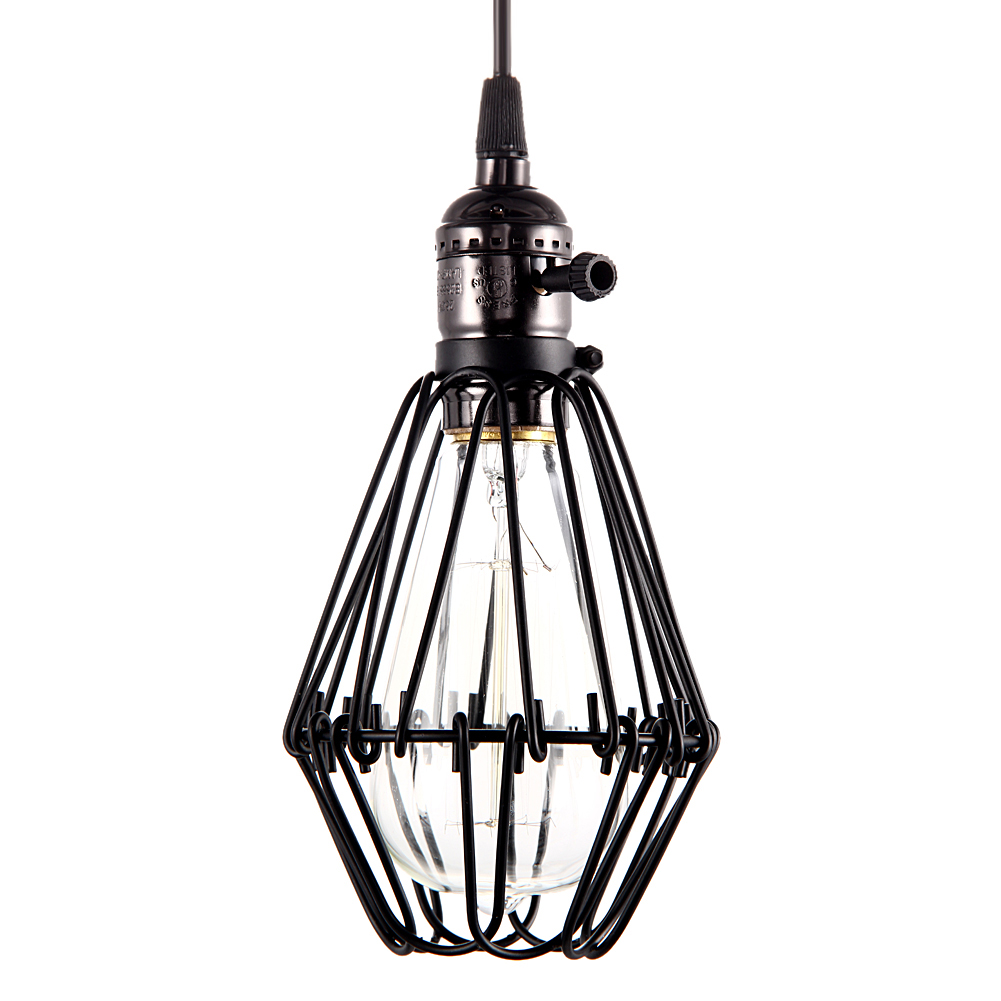 Vintage Light Fixture E27 Socket Black Wrought Iron Birdcage Chandelier Lamp Base Europe &amp; America Balcony / Attic Lamp Holder<br><br>Aliexpress