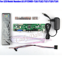 HDMI CVBS RF USB VGA Audio Video TV Controller Board + 40P Lvds Cable Kit for LP173WD1 TLA1 TLC1 1600x900 2ch 6 bit LCD Display
