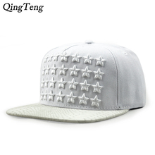 New Lot Embroidered Stars Snapback Caps Hip Hop Artificial Leather Flat Eaves Hats For Men Swag Rock Star Cap Women Summer 2017