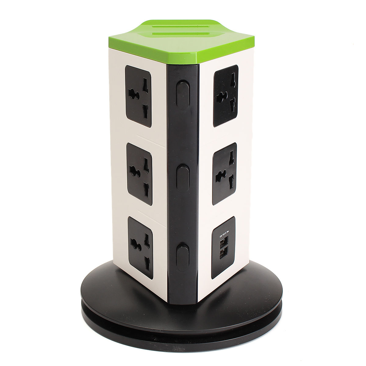 Fire Retardant EU/UK Plug Stand Vertical 8 Plug 2 USB Port Electrical Extension Socket Plug Adapter Connector<br>