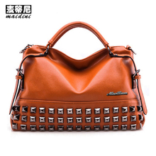 High Quality Women Top-Handle Leather Rivet Womens Shoulder Bags Tassel Big Capacity Tote Bag Ladies Messenger Bag Brown Black