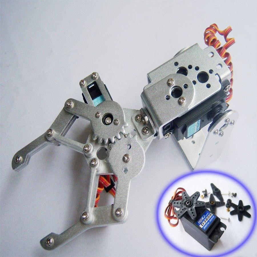 2 DOF Aluminium Robot Arm Clamp Claw Mount kit + 2 HDKJ D3609 9KG Metal gear Digital servo F03992-A<br><br>Aliexpress