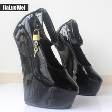 Jialuowei Fashion Design Spring/Autumn Women Wedge Shoes Patent Leather Round toe Party Wedding High Heels Pumps Woman Shoes(China)